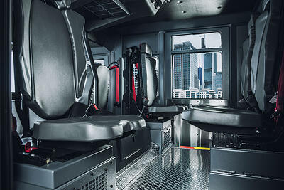 Fire truck interior showing CARE cleanable seats.