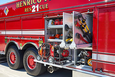 Compartment interior that includes customized storage configurations to meet the needs of the fire department.