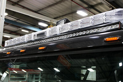 LED scene lighting shown on top of a Pierce apparatus