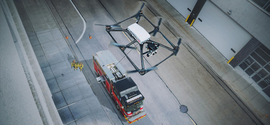 Search-and-rescue-drones-from-Pierce-bannerPierce's Situational Awareness System, a tethered aerial device, is shown flying above the scene of an emergency.