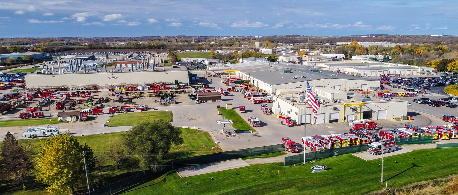 An aerial view of Pierce Manufacturing facilities in Appleton Wisconsin.