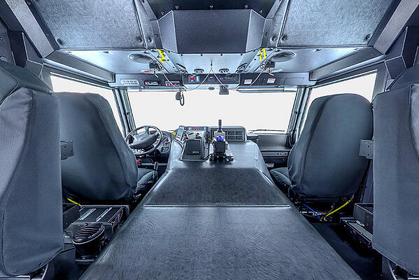 Interior of Cab for Velocity and Impel Custom Chassis Carry 10 Personnel