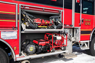 Versatile storage on the side of a fire truck shows just on innovative strategic compartmentation can be.