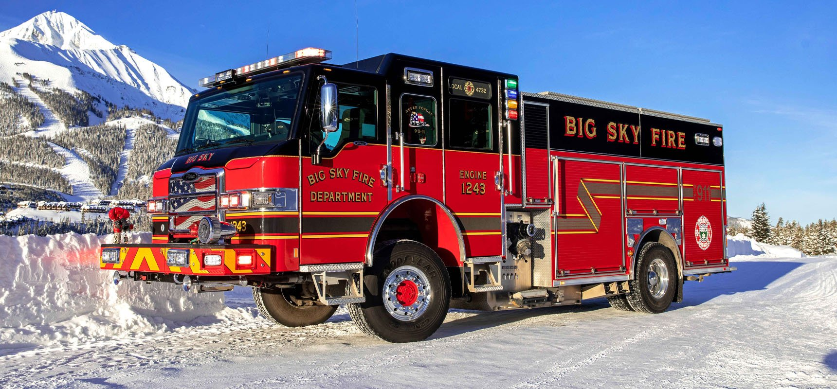 Pierce Manufacturing fire apparatus positioned on a snow-filled road, prepped and winterized for the cold-weather climate.