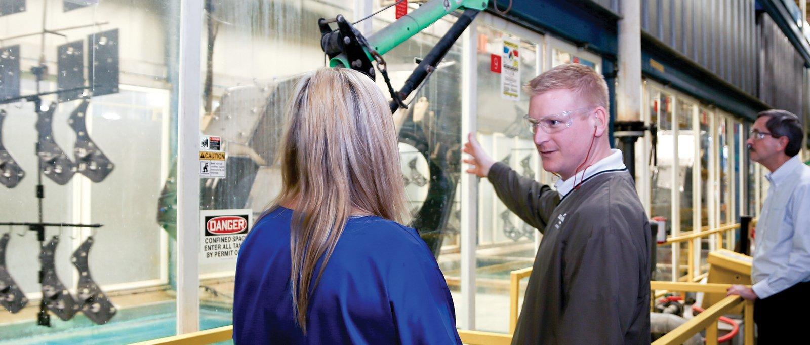 E-coat operators monitoring the process steps at Pierce Manufacturing.