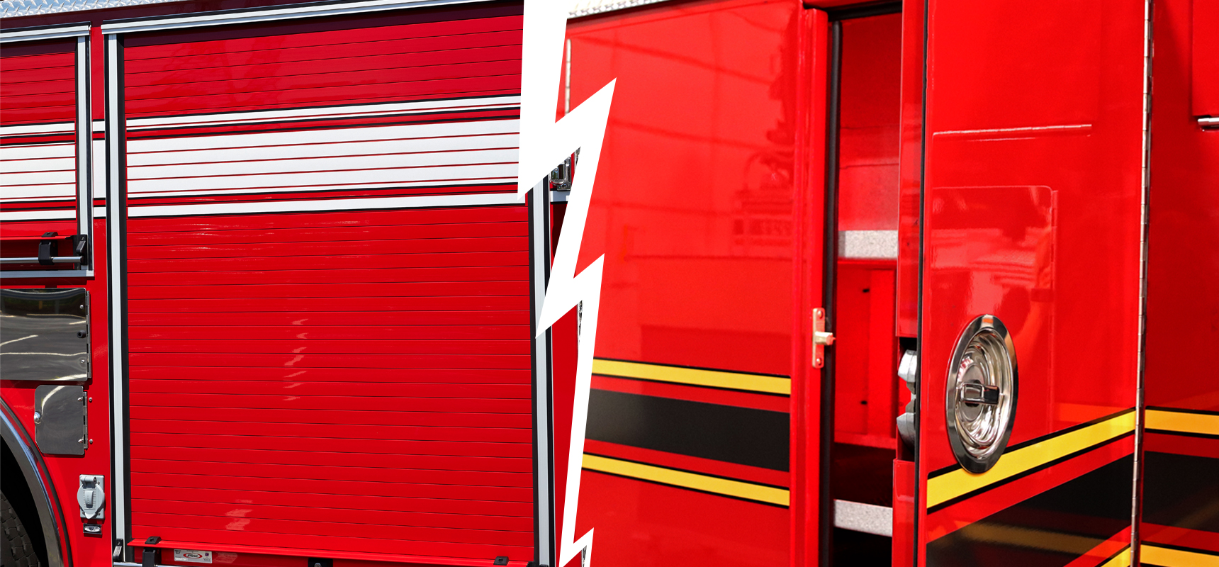 What is the difference between a hinged and roll-up fire truck door?