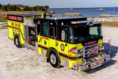 A fire truck parked near the ocean, in a southern climate, can be susceptible to rust and corrosion, much apparatus in cold-weather climates.