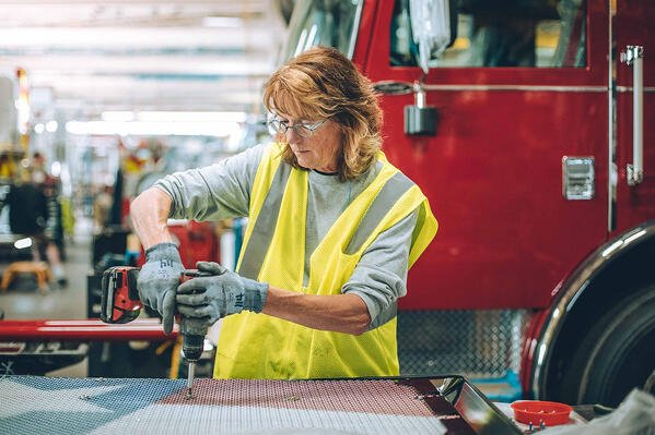 Pierce Employee Creating Custom Fire Truck Grille