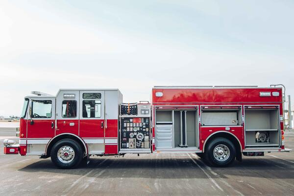 Heavy Duty Rescue Pumper Fire Truck Drivers Side Compartments