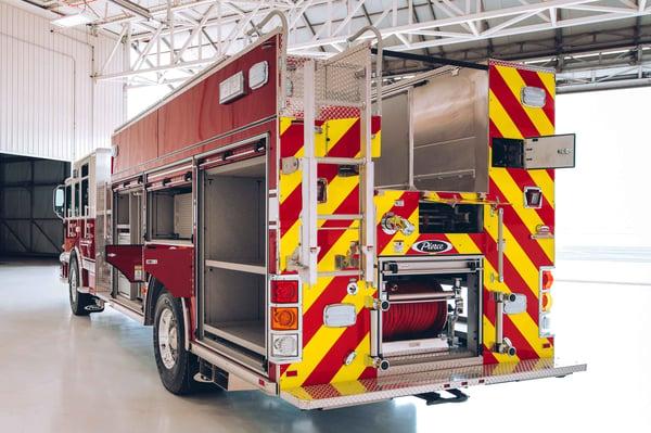 Pierce Heavy-Duty Rescue Pumper Fire Truck Rear Drivers Side