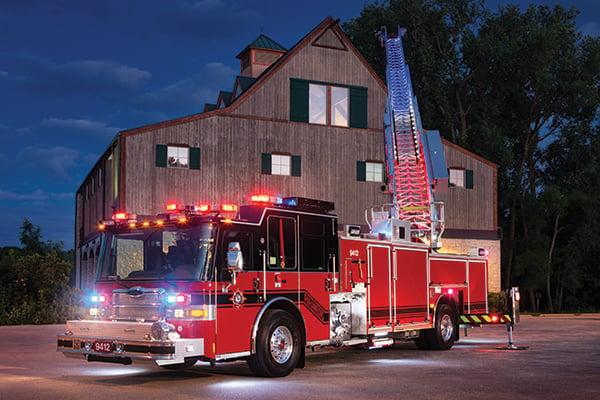 Pierce 75' Heavy-Duty Aluminum Aerial Ladder Fire Truck Extended