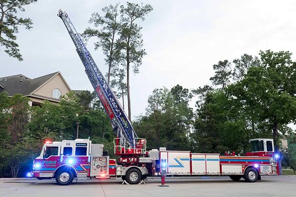 Pierce Ascendant 107' Heavy-Duty Tiller Aerial Ladder Fire Truck Full Extended