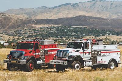 Two Boise Mobile Equipment wildland fire trucks