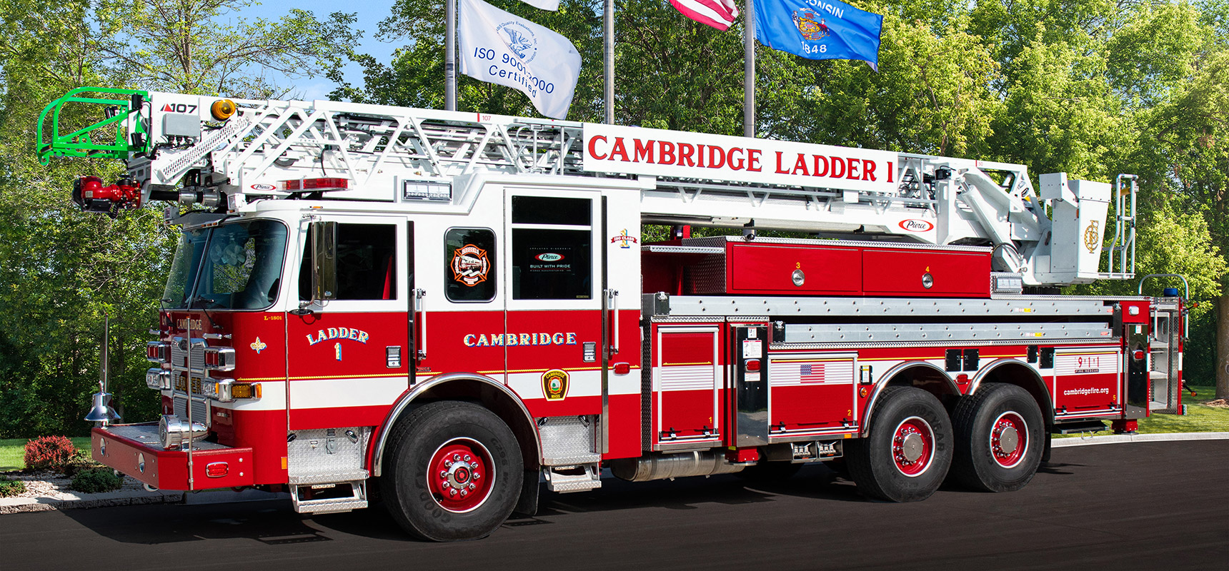 Pierce announces delivery of Ascendant 107' Heavy-Duty Aerial Ladder to Cambridge, MA