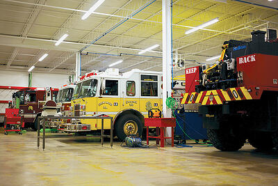Service bays at Glick Fire Equipment Hatfield Service Center