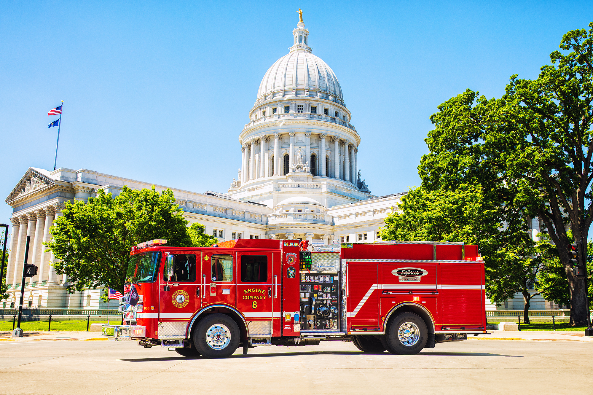 City of Madison Wisconsin Enforcer Volterra Fire Truck in Front of Wisconsin State Capitol