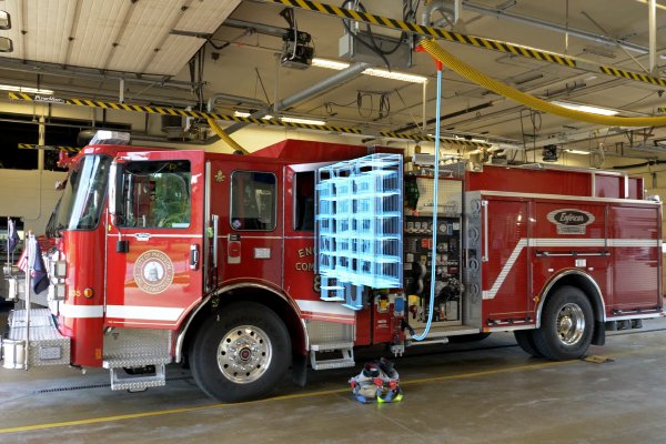 Pierce Electric Fire Truck Charging in Station