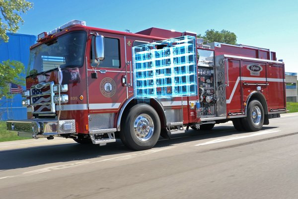 Pierce Electric Fire Truck Driving with Onboard Batteries