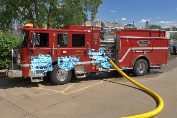 Pierce Electric Fire Truck Pumping