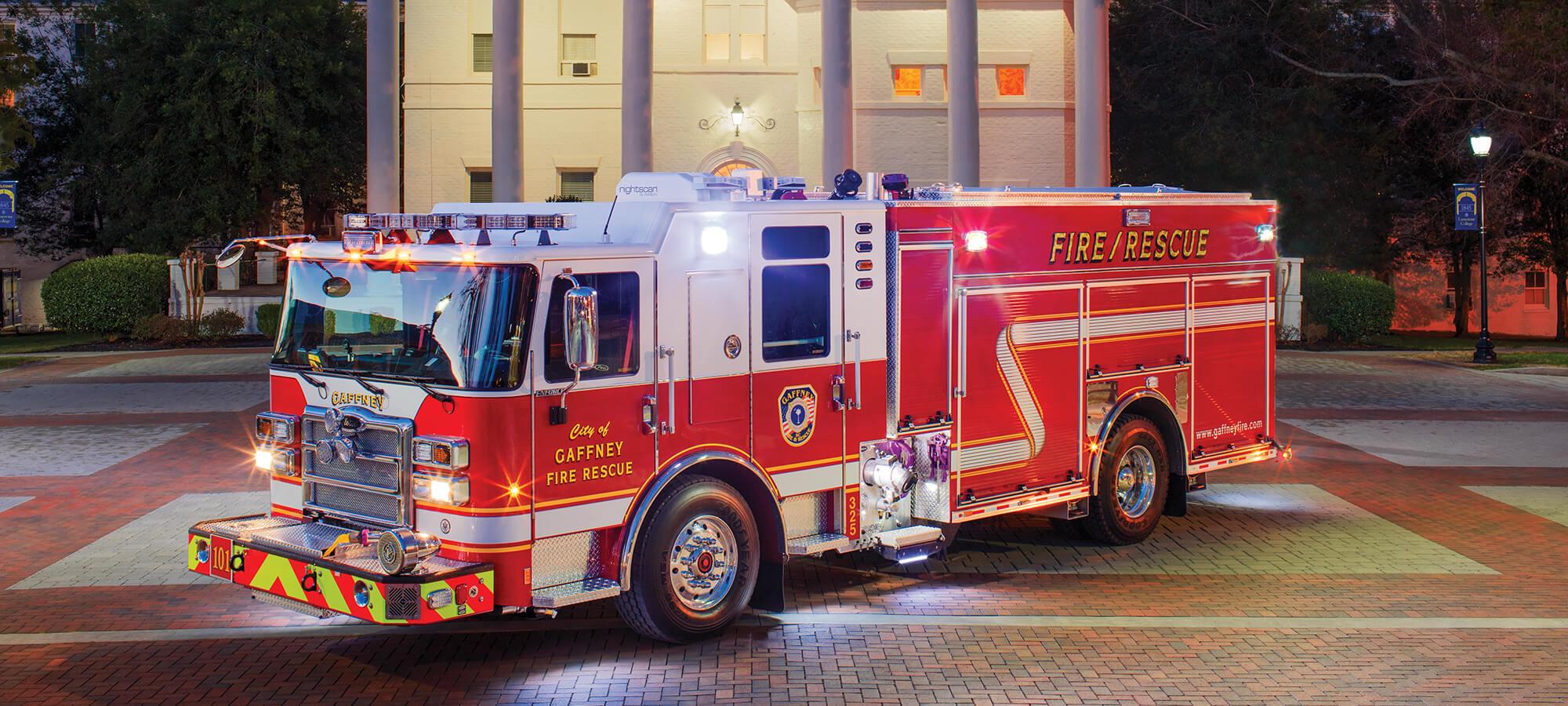 Gaffney South Carolina Enforcer PUC Pumper Emergency Lights On